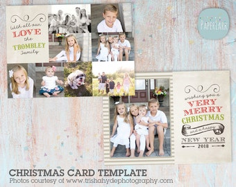 Big Family Christmas Card Template - Photoshop template - AC028 - INSTANT DOWNLOAD