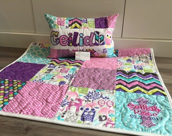 Woodland Quilt and Pillow, pink purple, teal. Orchid Forest Life Owls, nursery bedding