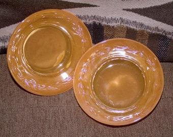 Pair  - Fire King PEACH Lustre LAUREL Pattern Dessert or Berry Bowls