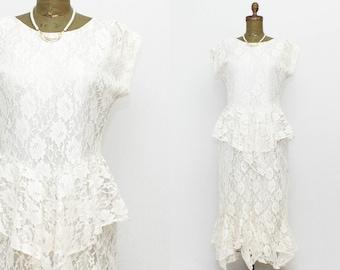 Lace Peplum Wedding Dress - Size Large Vintage 1980s Off White Lace Dress