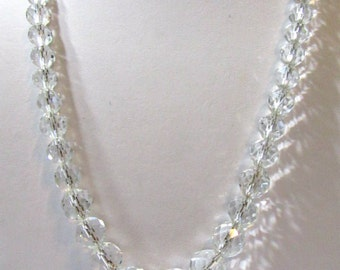 Beautiful Long Crystal Beaded Neckace Vintage Multifaceted Cut Sparkly Beaded on Chain