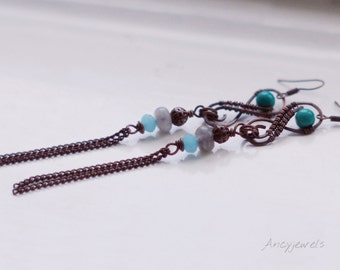 Labradorite and turquoise earrings, Copper earrings, Long earrings, Boho earrings, Romantic earrings