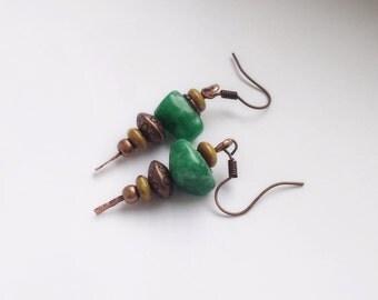 Copper earrings with green jade, Artisan jewelry, Boho chic earrings, Rustic copper earrings