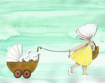 A4 Art Print Illustration, Let's take a Walk, 29,7x21 cm, Oil Pastel, Pencil, Gouache, Watercolor and Ink