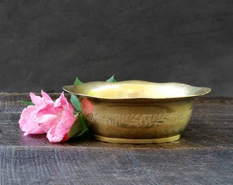 Brass Soap Dish - Gold Trinket Bowl - Made in India - Vintage