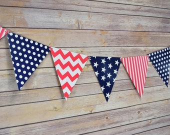 4th of July, Red, White, and Navy triangle flag pennant banner, patriotic flag banner, 4th of july decorations