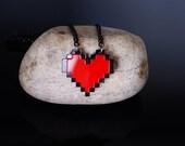 Pixel Heart Acrylic Necklace and Pendent for zelda gamer 8bit design