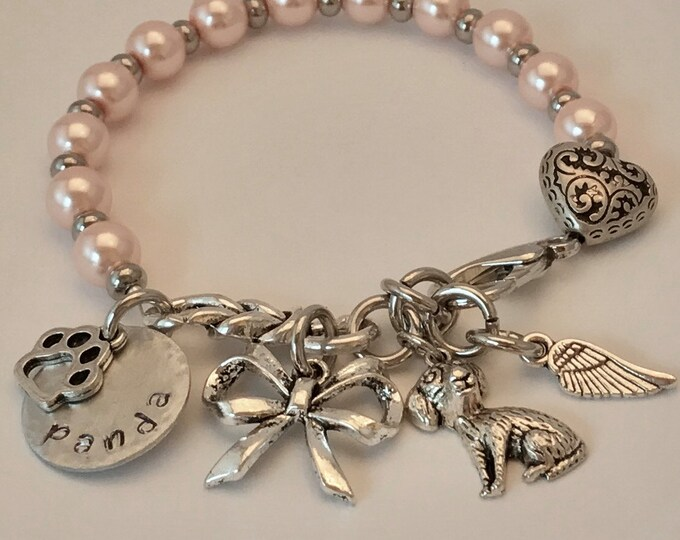 Rainbow bridge pet loss Memorial bracelet ~ pink glass pearls personalized