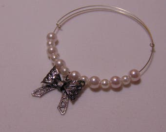 Pearl and Bow Charm Bracelet