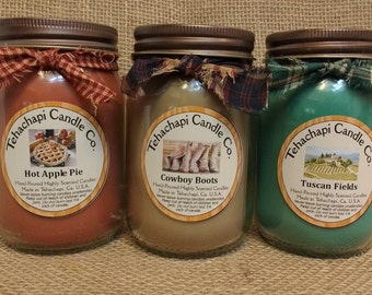 Pick three 16oz Container Candles, Soy Candle, Scented Soy Candles, Rustic Candles, Mason Jar Candles, Scented Candle, Farmhouse Decor
