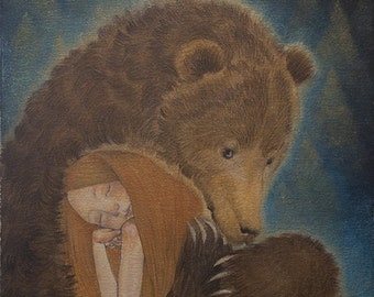 """Limited edition giclée print of original painting by Lucy Campbell - """"Friday's bear"""""""