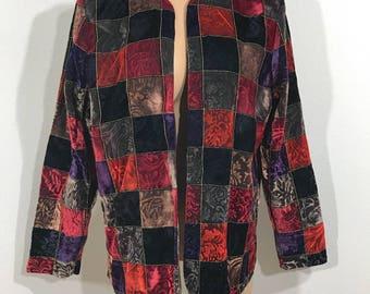 Vintage Lightweight Crushed Velvet Velour Textured Multicolor Jacket Medium