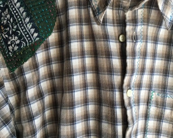 Vintage Up Cycled Womens oversized Plaid 100% cotton Flannel Shirt hand embroidered vintage floral sari patches Three Whiskers Farm s/m/l