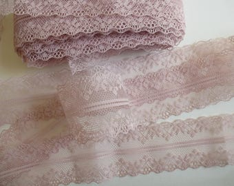 Pinky beige lace trim ribbon. Double edged lace.   Sewing accessories, wedding supplies    4cm wide