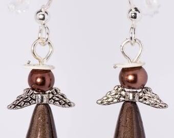 Metallic brown angel earrings