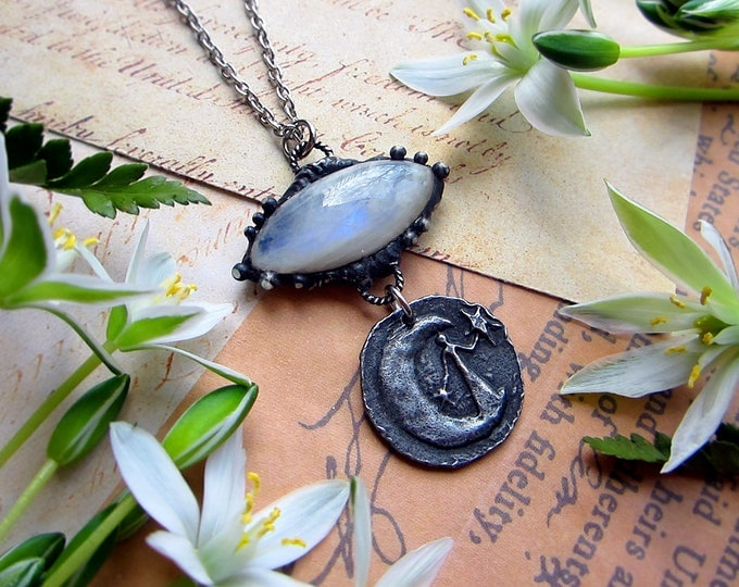 "Necklace ""Night"" with rainbow moonstone, rustic pendant with goddess, stars & crescent. Custom length chain."