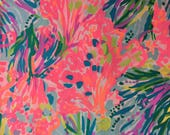 New! 3 patches of Lilly Pulitzer Fabric Fansea Pants (spring 2017, reef, nautical, coral, sea) - Perfect for Greek / Sorority Fabric Letters