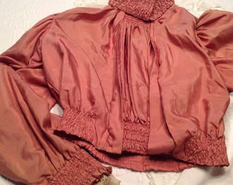 Reduced Antique victorian blouse, salmon colored silk, lots of sheering