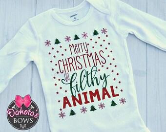Merry Christmas Ya Filthy Animal shirt onesie, Merry Christmas, Ugly Christmas shirt, Christmas onesie, Home alone shirt, Baby onesie