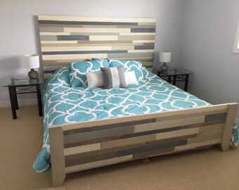 Rustic Wood Bed Frame / Queen Size Bed / Seaside Chic Bed Frame / Island Style Bed / Loft Bedroom