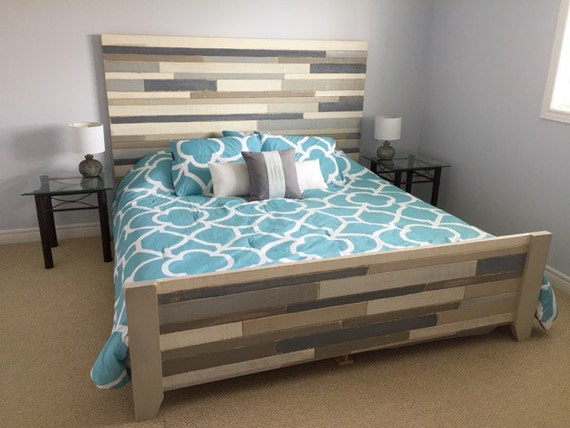 rustic wood bed frame queen size bed seaside chic bed. Black Bedroom Furniture Sets. Home Design Ideas