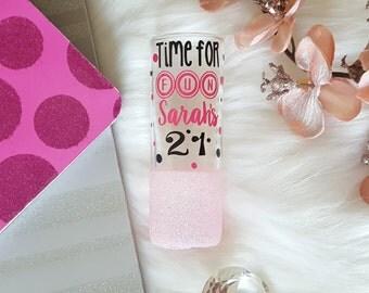 21st Birthday shot glass, 21st Birthday Gift for Her, Glitter Shot Glass, 21st Birthday Gift,21 Bitches,Funny Shot Glass,21st Birthday Glass