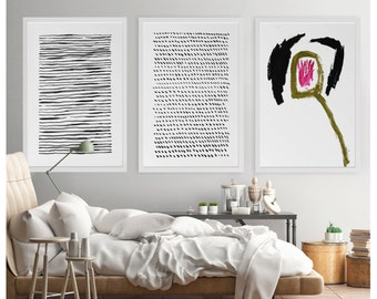 Black And White Art, Modern Art, Large Wall Art, Abstract Acrylic Painting, Abstract Print, Modern Minimalist Art, Dot Art, 24x36 Poster Art