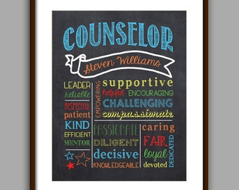 Counselor Gift, Color Counselor Chalkboard Style Printable, Counselor Christmas Gift,  Counselor Thank You, Printable, Digital File 8x10