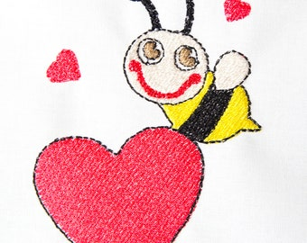 Love Heart Bee machine embroidery design