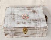 Rustic Wedding Memory Box, Wedding Ceremony, Coral and Mint Wedding, Wine Box, Advice Memory Box, Card Box, Keepsake Box, Wedding Box