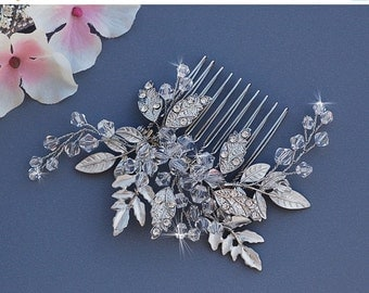 Crystal Wedding Comb Bridal Hair Accessories Accessory Bride Jewelry Headpiece Head Piece Blusher Birdcage Bird Cage Veil Floral Comb