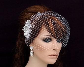 Comb and Birdcage Veil , Bridal Comb ,  Bird Cage Veil , Bachelorette Blusher , Wedding Comb , Bridal Hair Accessory , Crystal Veil