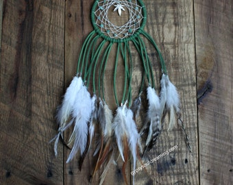 Small Green Pot Leaf Dream Catcher with Moss Agate