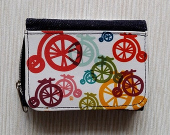 Wallet Purse Jeans Denim Card Holder Cash Coin Pocket Travel Snaps Debit Credit Photo Holder Zip Colorful bicycles