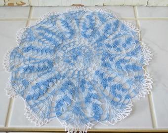 Doily Blue White Crocheted Vintage Doily White Blue Cottage Farmhouse Decor