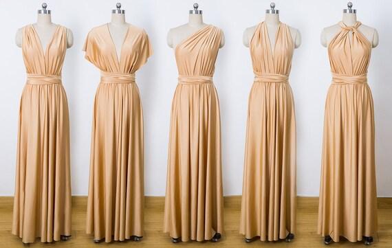 Gold Maxi Infinity Dress Convertible Bridesmaid Dress Cheap