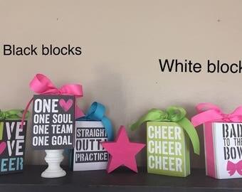 Cheer, Cheerleader, love to cheer 3x4 Wood Block
