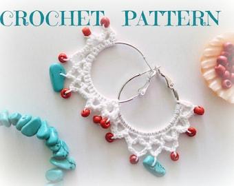 Crochet Pattern, Jewelry Making, PDF Tutorial, Tribal Beaded Hoops, Crochet Jewelry, PDF Pattern,Instant Download,Crochet Ebook,DIY Earrings