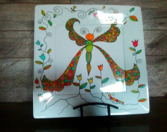 Large square plate, decorative plate, butterfly, plate presentation, display, gift for MOM, housewarming,.