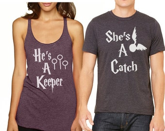 She's a Catch He's a Keeper Shirt Couples Shirts Valentine Tank top racer back T shirt