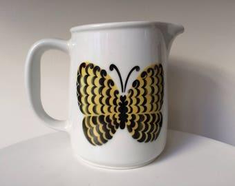Kaj Franck Ceramic Pitcher With Butterfly Design By Arabia