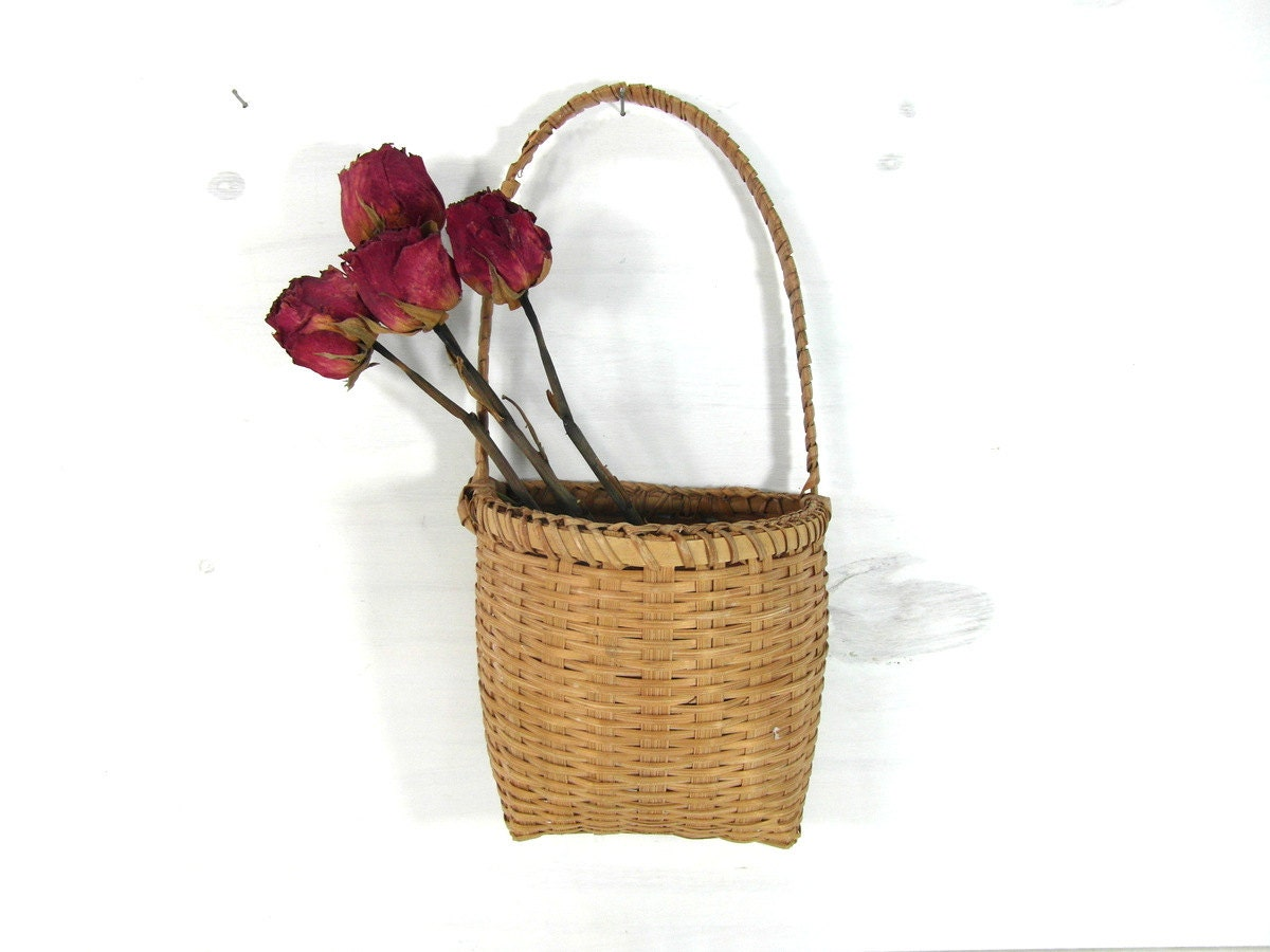 Tiny Wicker Basket With Handle : Small hanging wicker basket with handle french vintage