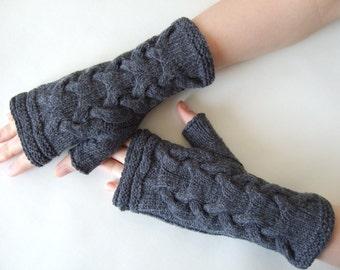 Knitted of CASHMERE, MERINO wool and viscose. GRAY fingerless gloves, wrist warmers, fingerless mittens. Handmade.