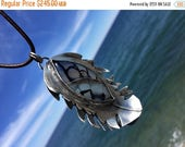 SALE Feather Necklace. Artisan Sterling Silver, Dragon Vein Agate. Amulet, Talisman, Primitive, Rustic, Raw, Tribal, Organic, Earthy, Wabi S