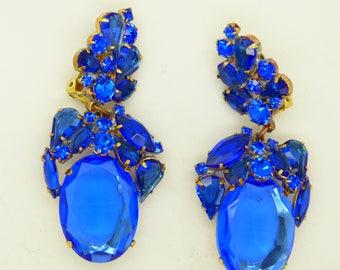 Czech Glass Royal Blue Dangle Clip Earrings, Rhinestone, open-back