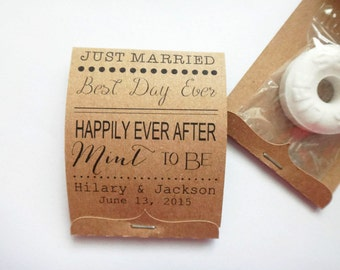 Wedding Mint Lifesaver Matchbook Favors Happily Ever After Just Married Guest Wedding Favors Mint Favors Set of 100 Barn Wedding Candy Favor