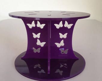 "Butterfly Round Purple Gloss Acrylic Cake Pillars/Cake Separators, for Wedding / Party Cakes 10cm 4"" High, Size 6"" 7"" 8"" 9"" 10"" 11"" 12"""