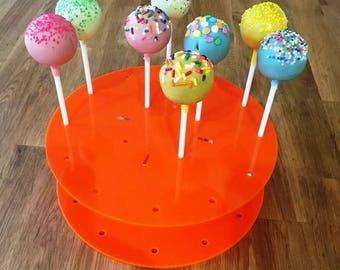 "Round Orange Gloss Acrylic Cake Pop Stands - 21cm 8"" Diameter (16 cakepops) or 30cm 12"" Diameter (32 cakepops)"