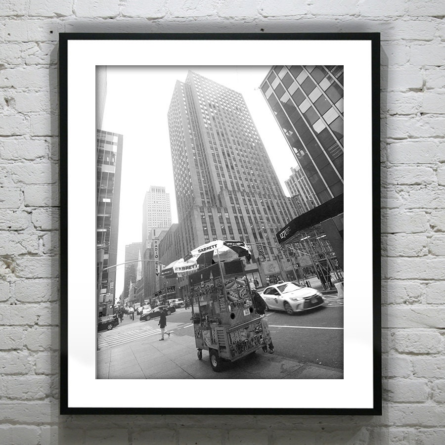 Street Wall Art Black And White : Valentines day sale off new york city street hot dog