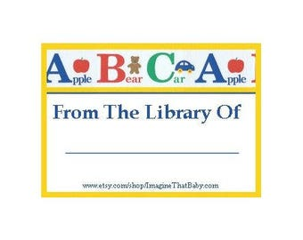 ABC Bookplate - Printable Bookplate - Instant Download Bookplate